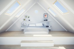 Loft conversion with bed