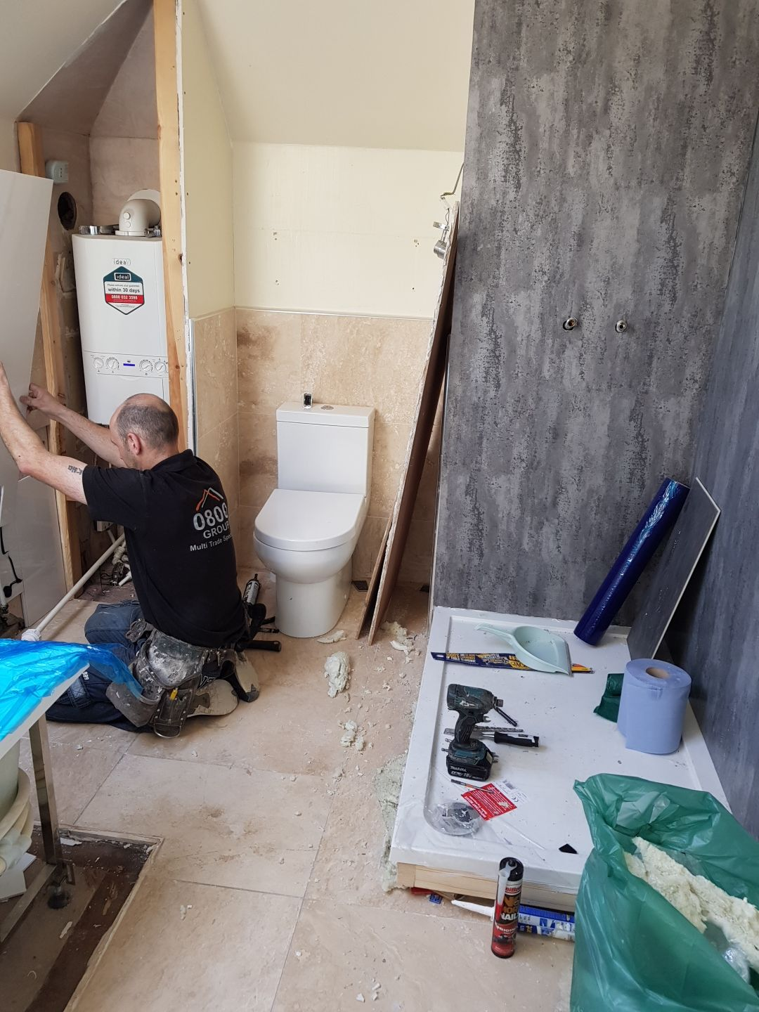 bath and shower being created